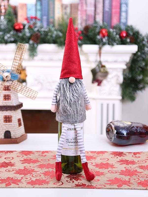 Christmas Gnome Wine Bottle Decoration Set
