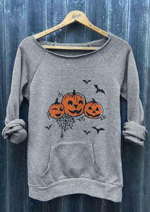 Halloween Pumpkin Face Bat Pocket Sweatshirt