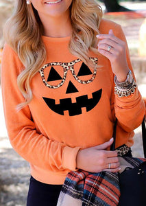 Halloween Pumpkin Leopard Glasses Long Sleeve Shirts&Tops