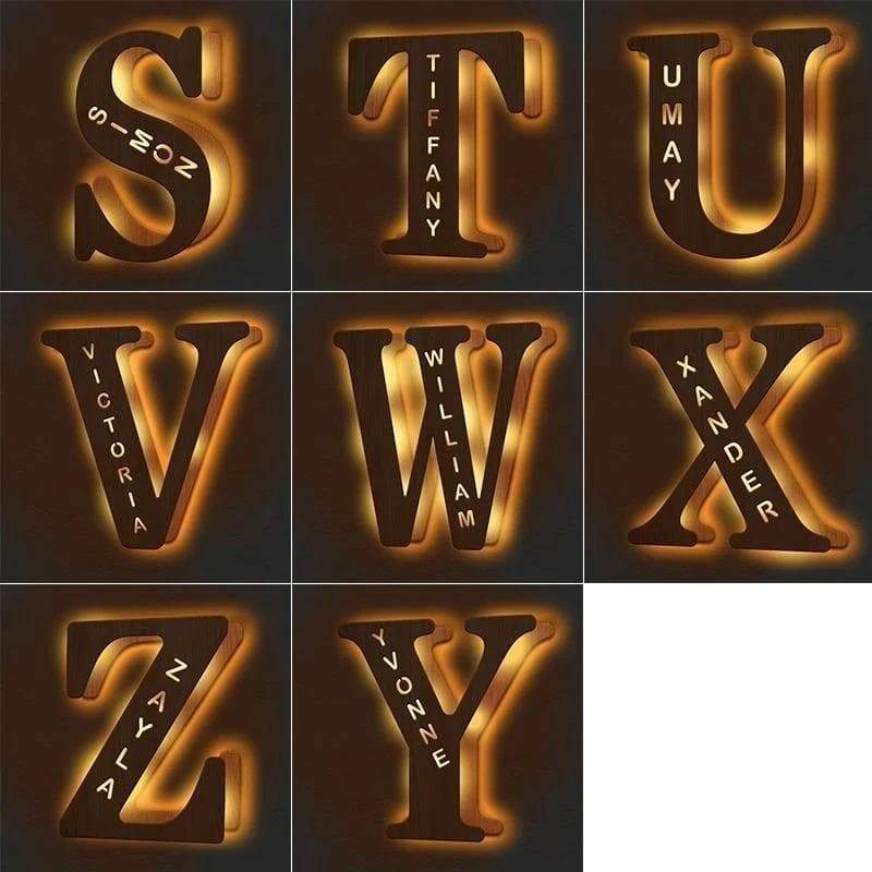 Wall light custom engraved wooden name
