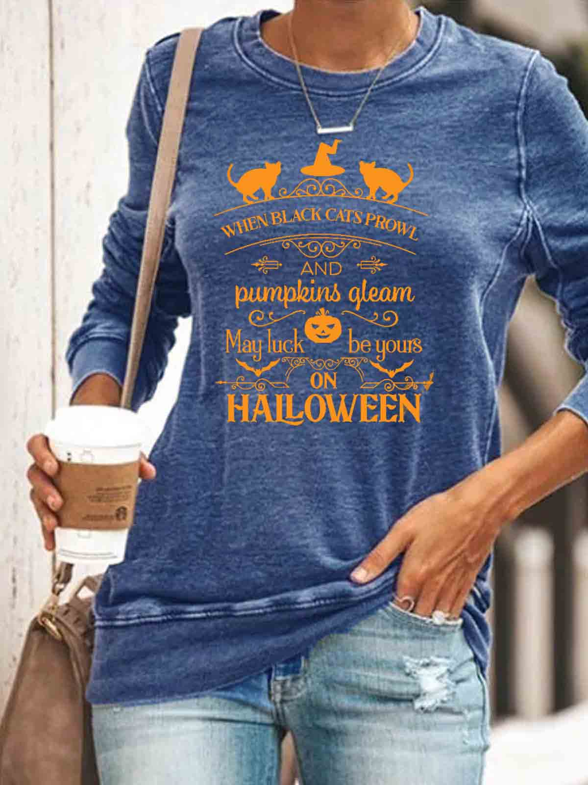 Women's When Black Cats Prowl And Pumpkins Gleam May Luck Be Yours On Halloween Print Top