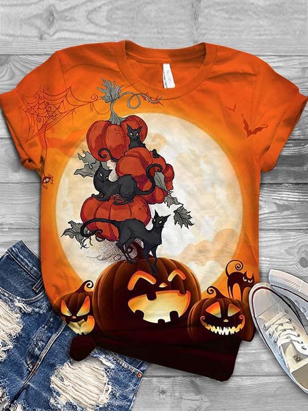 Ladies Halloween Pumpkin Cat Printed Round Collar T-shirts