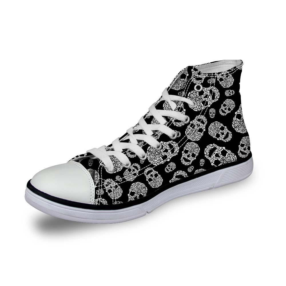 Halloween Skull Pattern High Top Canvas Shoes