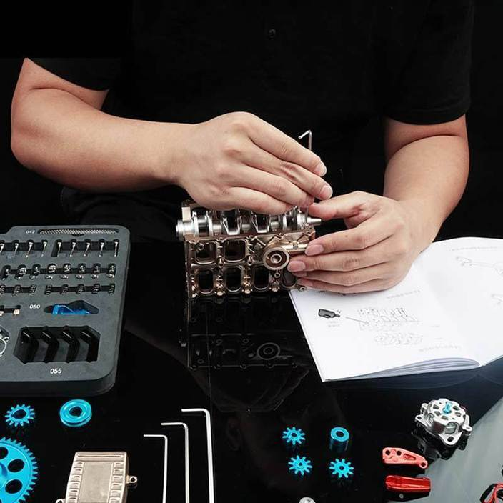 🔥V4 Car Engine Assembly Kit Full Metal 4 Cylinder Car Engine Building Kit