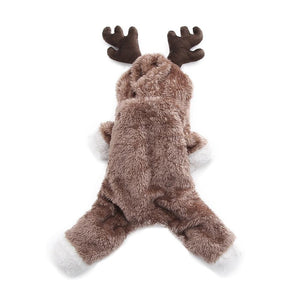 Winter Warm Plush Pet Antlers Clothes Christmas Reindeer Dress Up