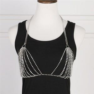 Women's tight sling waist Rhinestone Bra Bikini Beach jewelry sexy nightclub body chain chest chain