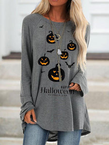 Women's casual Halloween alphabet pumpkin print sweatshirt