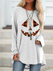 Women's Halloween Pumpkin face Check Print Long Sleeve T-shirt