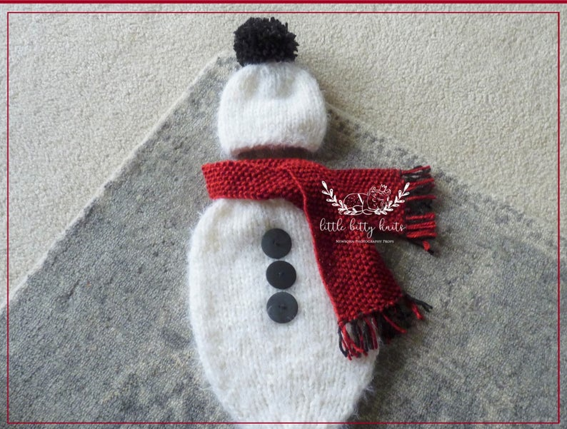 Baby Snowman Sack and PomPom Hat with Scarf set