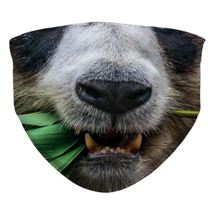Panda Bear Face Mask, Cute Panda Eating Bamboo Face Mask, Reusable and Washable Realistic Funny Mask For Adult and Kid Child