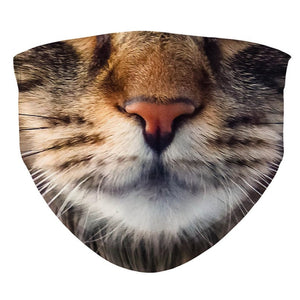 Maine Coon Face Mask, Cute Kitten Face Mask, Reusable and Washable Realistic Cat Mouth Cover For Adult and Kid Child, Kitty Animal Pet