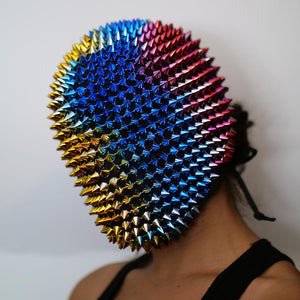Rainbow Spikes Studded Full Face Jewel Margiela Mask (Halloween, EDM, Cosplay, Rave, Party, Movie)