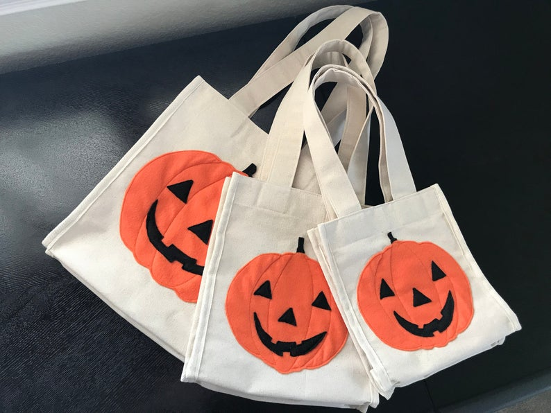 Halloween Trick or Treat Tote Bag WPumpkin Design On Both Sides, 100% Cotton Canvas Bag, Heavy-Duty Tote, Reusable Shopping Bag, Made in US