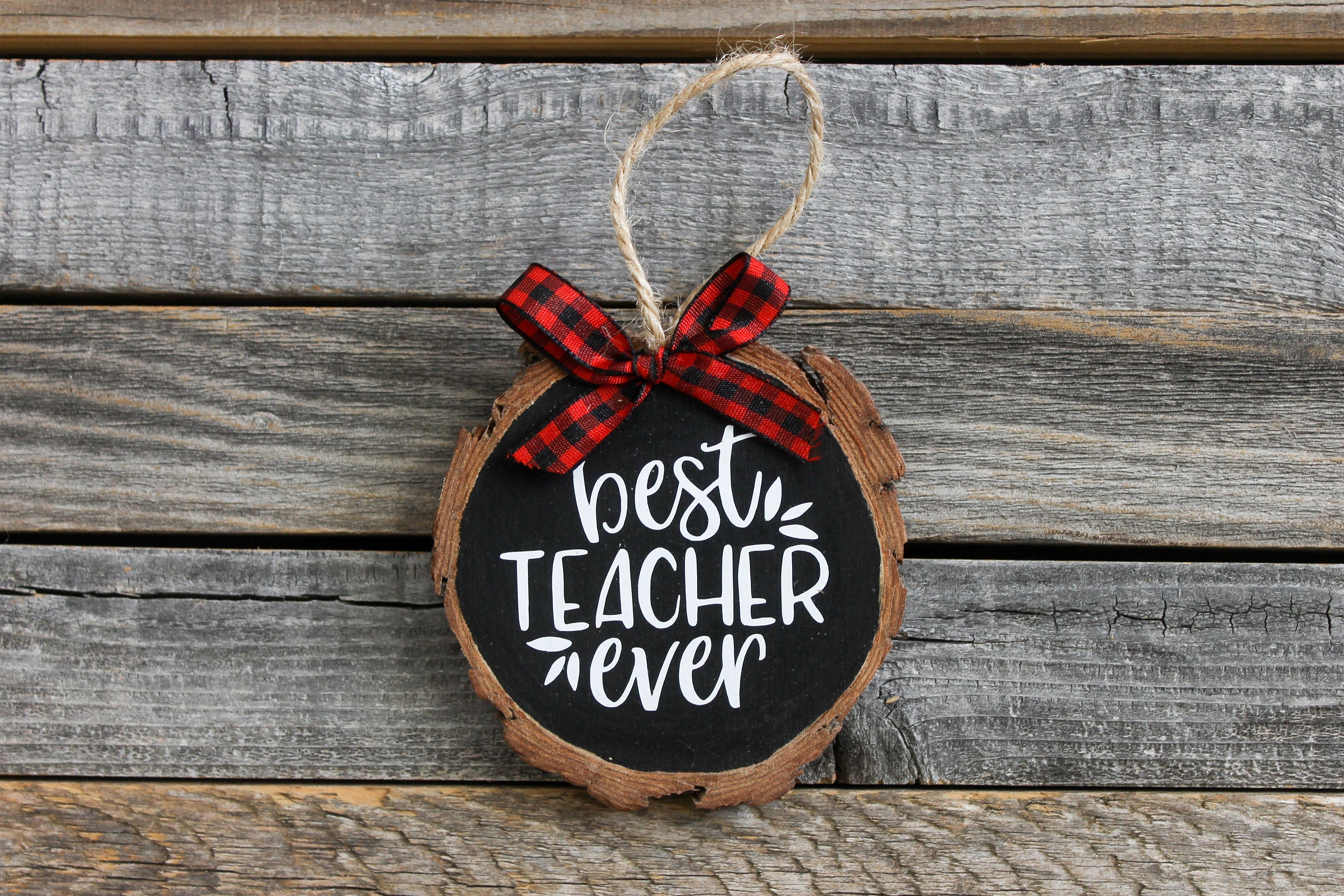Best Teacher Ever Wood Slice Christmas Ornament| New Home Ornament| Housewarming Gift| Christmas Gift| Various Colors| Rustic Christmas
