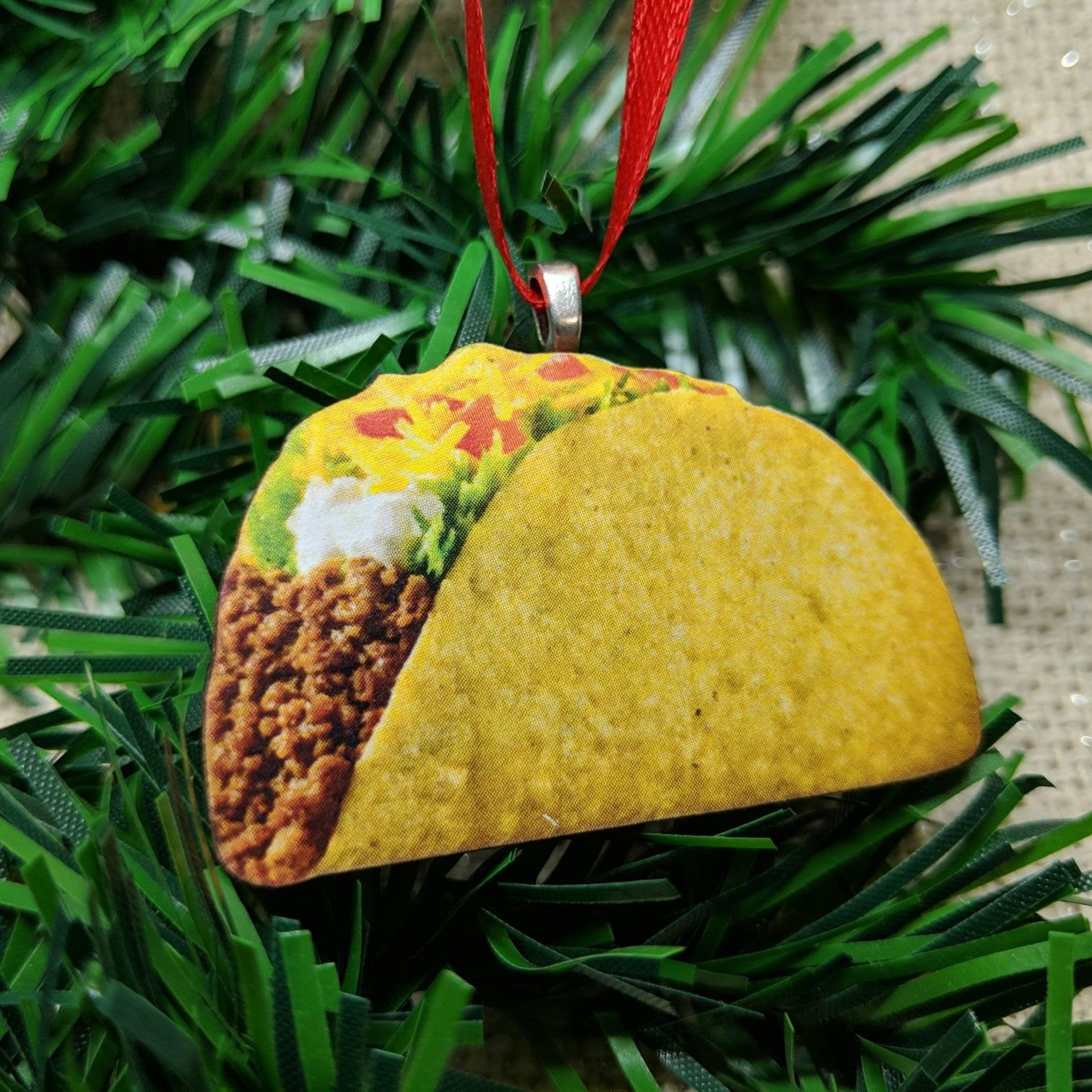 "Taco Ornament 2"" / Laser Cut Wood Ornament / Handmade Ornament / Food Ornament / Taco Christmas Ornament / Taco Lover Gift"
