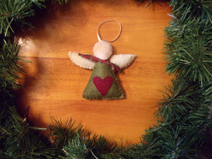 "Angel, Hand Sewn Angel with Heart, Angel with Wings, Christmas Ornament, Christmas Decoration,  4"" tall x 5""wide,  Hand Made in the USA"