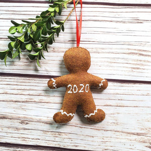 Covid 2020 gingerbread ornament, mask, pandemic, Christmas ornament, quarantine