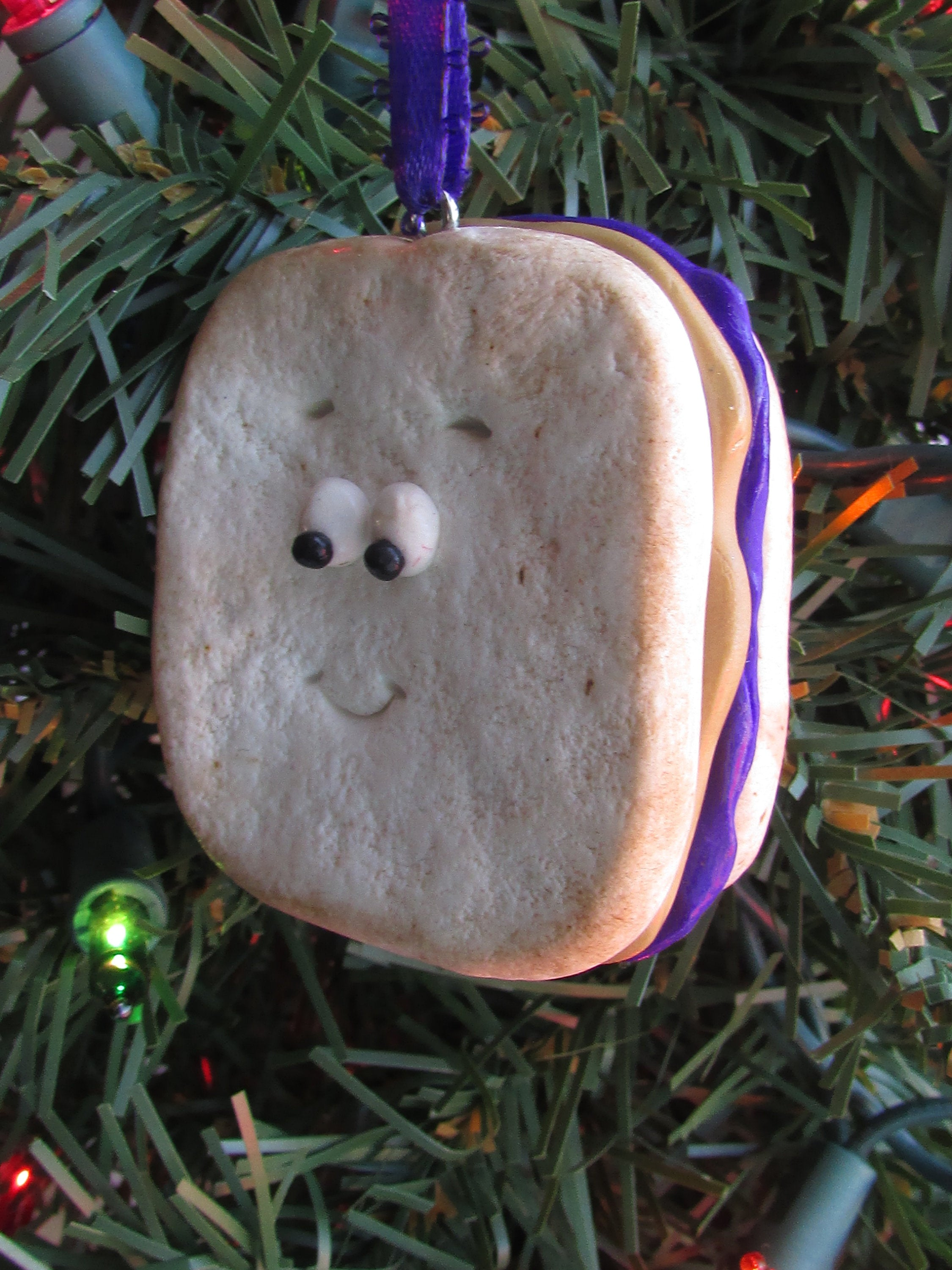 Peanut Butter & Jelly Christmas Ornament Sandwich Ornament Sandwich Charm Funny Food Ornament Food Ornament Funny Food PB and J PBJ Bread