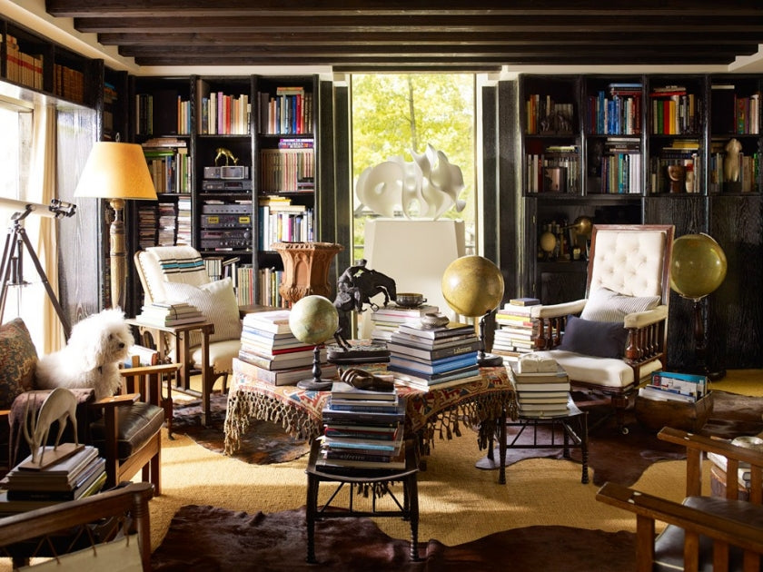 Chic Look For Home Library Through Cozy Lighting