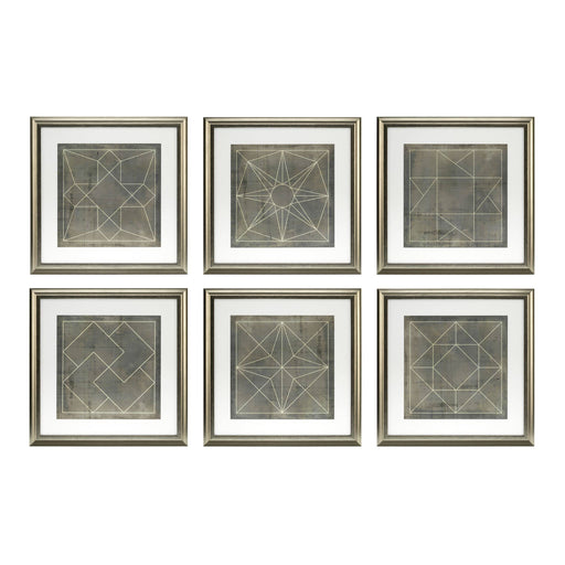 Geometric Blueprints set of 6 Prints   by Eichholtz | Modern Lighting + Decor