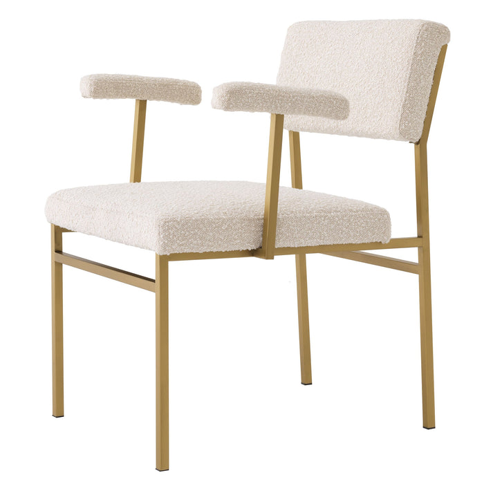 Buy online latest and high quality Bouclé Cream Brass Accent Chair | Eichholtz Dunmore from Eichholtz | Modern Lighting + Decor