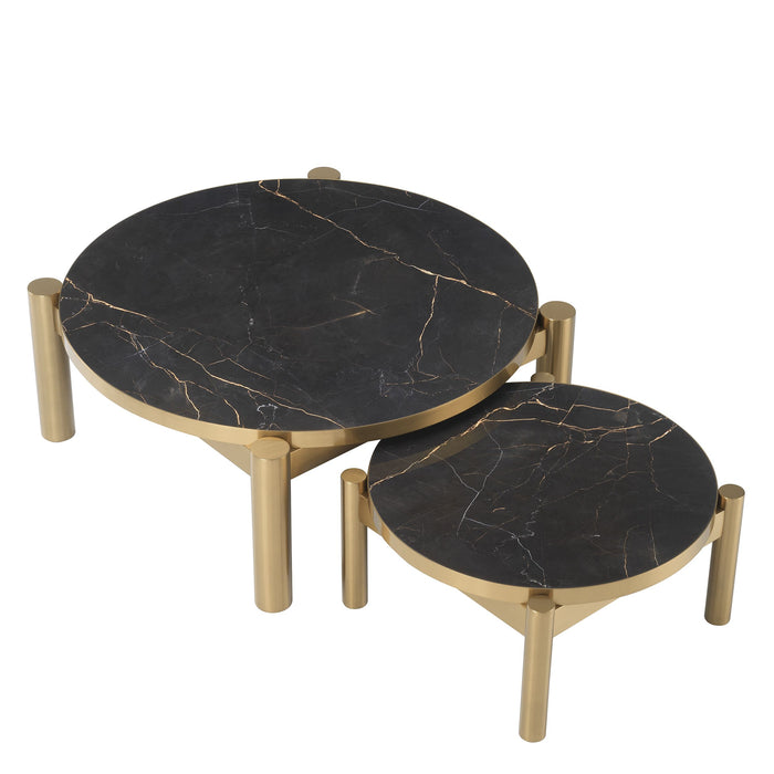 Buy online latest and high quality Brass Ceramic Marble Coffee Table Set | Eichholtz Quest from Eichholtz | Modern Lighting + Decor