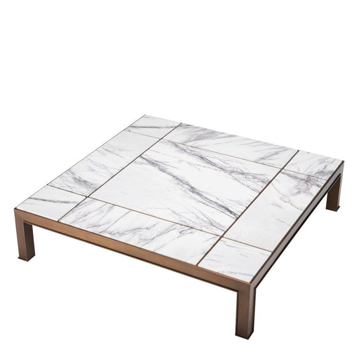 Buy online latest and high quality White Marble Brass Coffee Table | Eichholtz Tardieu from Eichholtz | Modern Lighting + Decor