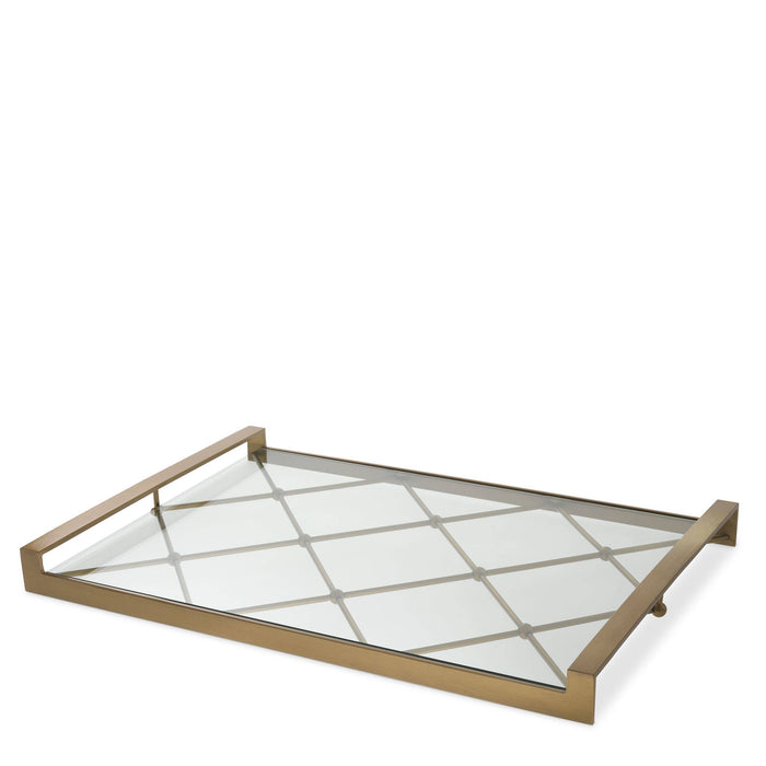 Buy online latest and high quality Brass Glass Tray | Eichholtz Goa from Eichholtz | Modern Lighting + Decor