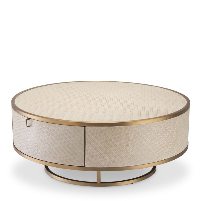 Buy online latest and high quality Brass Oak Round Coffee Table | Eichholtz Napa Valley from Eichholtz | Modern Lighting + Decor