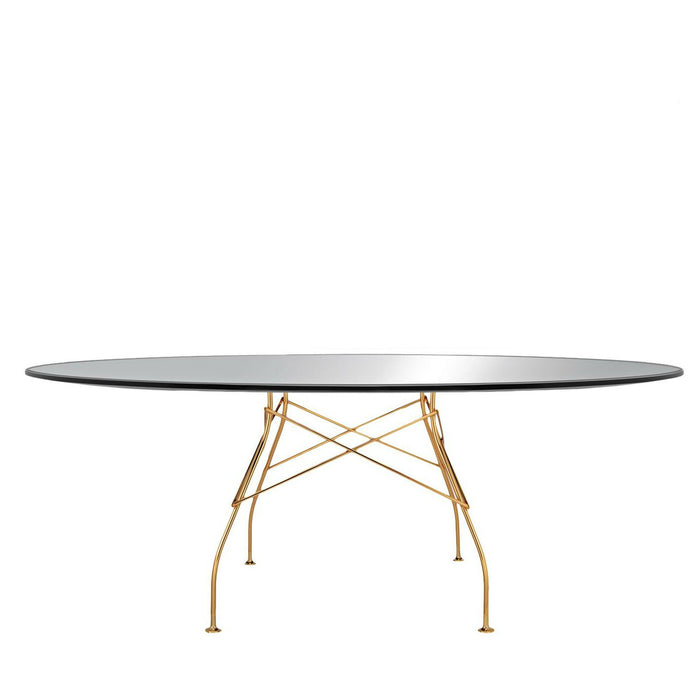 Glossy Oval Table with Gold Frame from Kartell | Modern Lighting + Decor