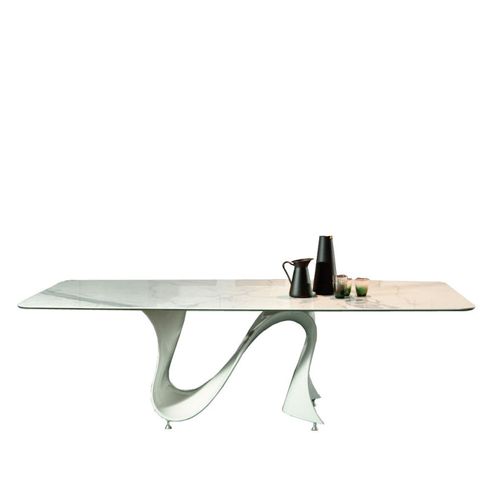 Wave 78 - 118 inch Wide Extension Glass Table with Matte White Base from Tonin Casa | Modern Lighting + Decor