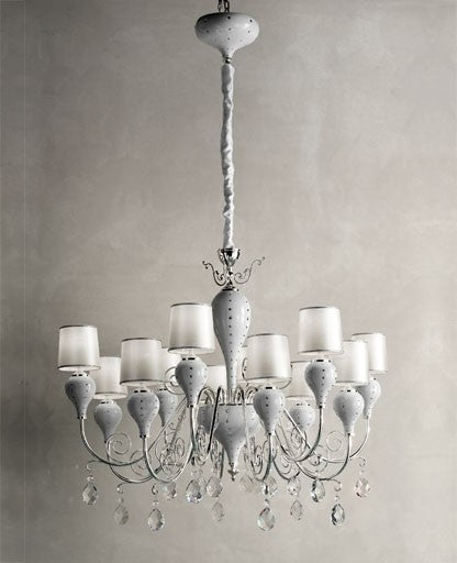 White Grace-12 Chandelier from Masiero Luxury | Modern Lighting + Decor