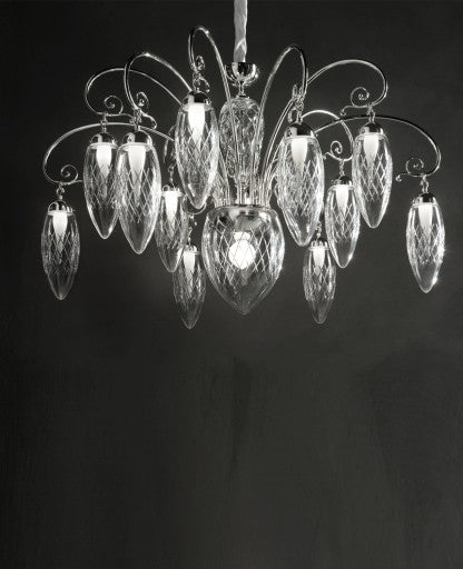 Magnifica 12+1 Chandelier from Masiero Luxury | Modern Lighting + Decor