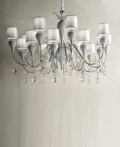 White Grace-16 Chandelier from Masiero Luxury | Modern Lighting + Decor