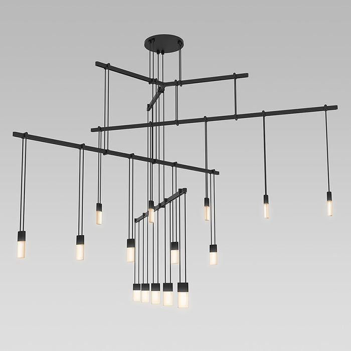 Buy online latest and high quality Suspenders Tri-bar Three Tier Pendant With Etched Chiclets from Sonneman | Modern Lighting + Decor