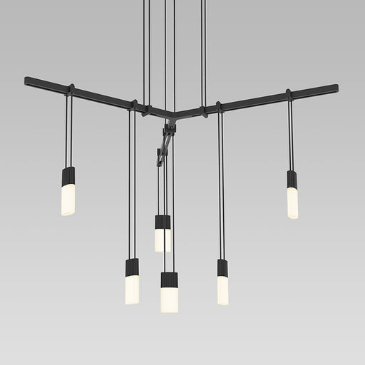 Buy online latest and high quality Suspenders Tri-bar Pendant With Etched Chicklet Luminaires from Sonneman | Modern Lighting + Decor