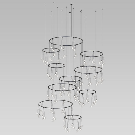 Buy online latest and high quality Suspenders Vertical Ring Chandelier W/ Cluster Luminaires from Sonneman | Modern Lighting + Decor