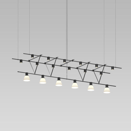 Suspenders Truss Triangle Pendant With Cylinder Lights | Modern Lighting + Decor