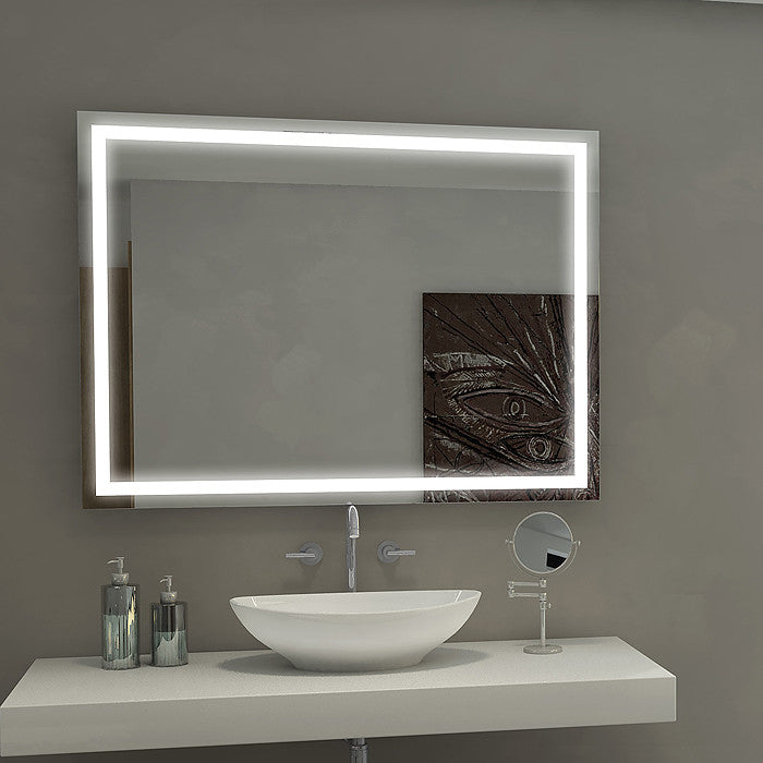 Dimmable Rectangle Backlit Mirror 48 x 36 In from Paris Mirror | Modern Lighting + Decor