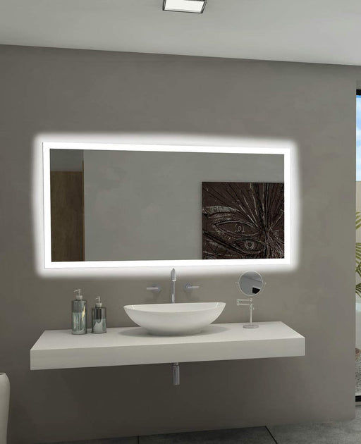 Backlit Bathroom Mirror Rectangle 55 X 28 In from Paris Mirror | Modern Lighting + Decor