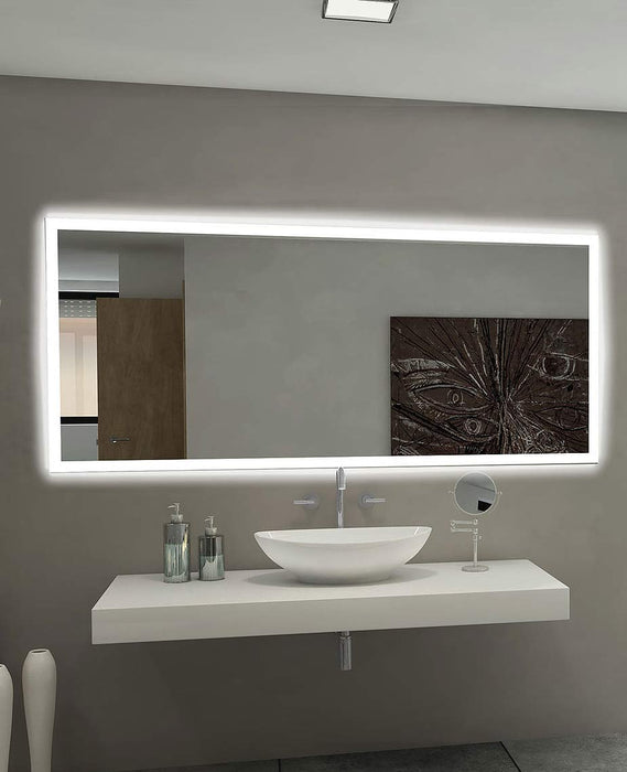 Backlit Bathroom Mirror Rectangle 70 X 32 In from Paris Mirror | Modern Lighting + Decor