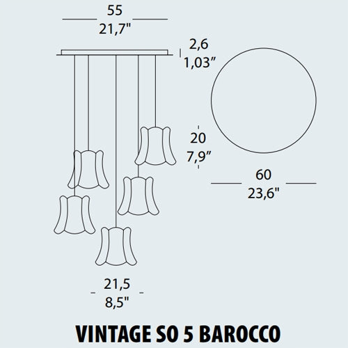 Buy online latest and high quality Vintage SO5 Barocco Pendant Lamp from EviStyle | Modern Lighting + Decor
