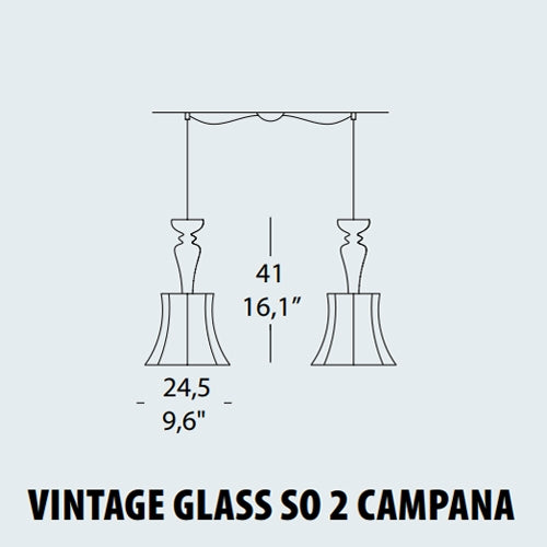 Buy online latest and high quality Vintage Glass SO2 Campana Pendant Lamp from EviStyle | Modern Lighting + Decor