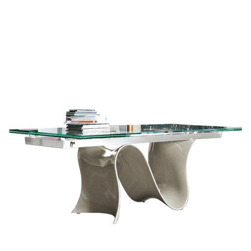 Buy online latest and high quality Wave 78 - 118 inch Wide Extension Glass Table with Glossy Beige Base from Tonin Casa | Modern Lighting + Decor