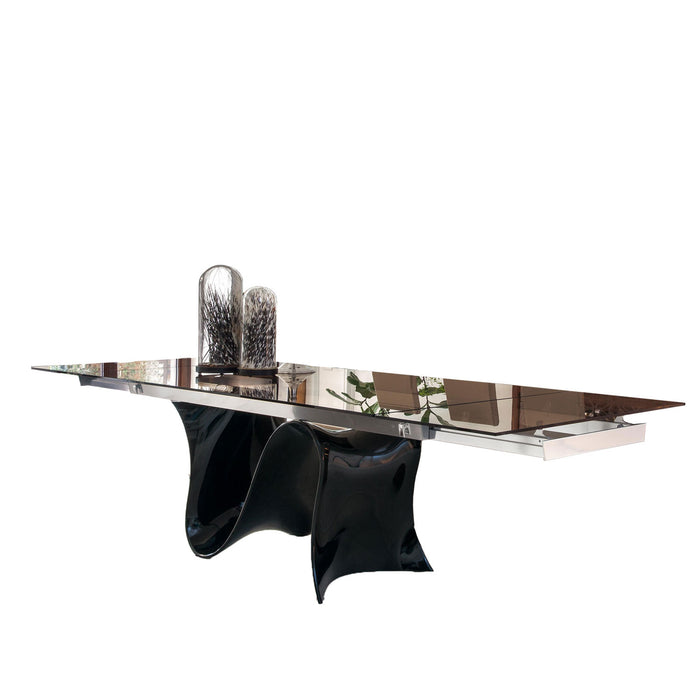 Wave 78 - 118 inch Wide Extension Glass Table with Black Base from Tonin Casa | Modern Lighting + Decor