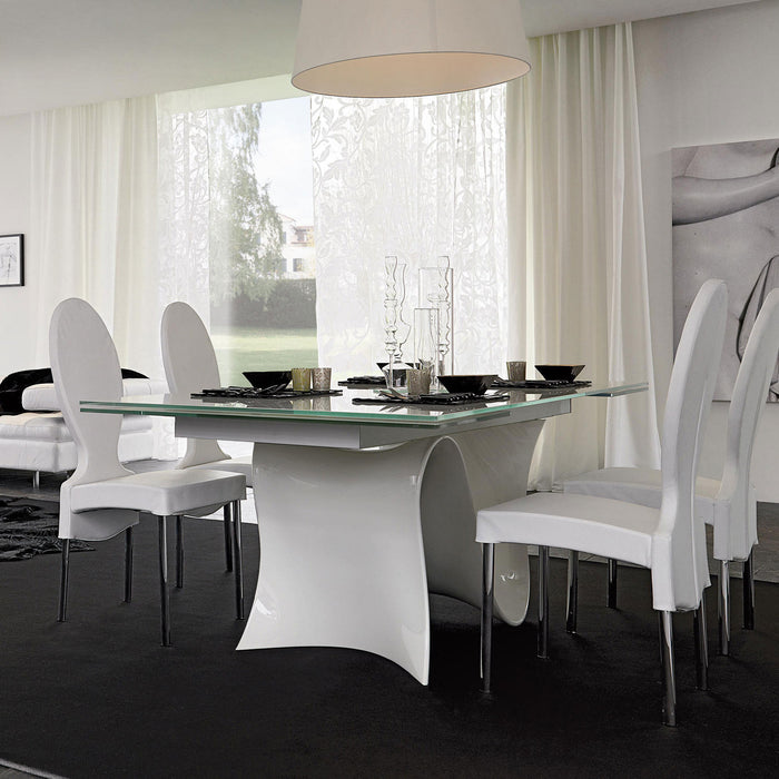 Wave 78 inch Fixed Glass Table from Tonin Casa | Modern Lighting + Decor