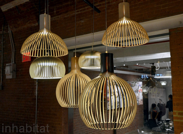 Wood lamps by Secto Design