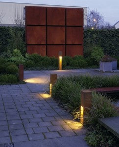 path lighting with controlled rusting