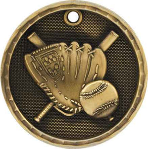 "2"" Antique Gold 3D Baseball/Softball Medal"