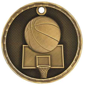 "2"" Antique Gold 3D Basketball Medal"